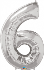 Number 6 Silver Super Shape Number Foil Balloon